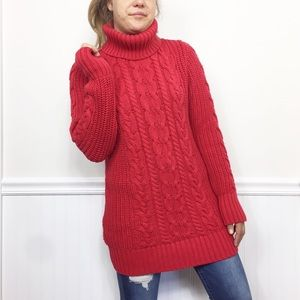 Gap | Red Turtleneck Cable Knit Sweater Large
